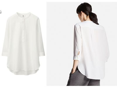 "<a href=""http://www.uniqlo.com/au/store/women-rayon-stand-collar-34-sleeve-blouse-1732740016.html#more_views"" target=""_blank"" draggable=""false"">Uniqlo Rayon Stand Collar 3/4 Sleeve Blouse, $39.90.</a><br> The 3/4 sleeve is a godsend when feeding messy children and rinsing plates in the morning before work."