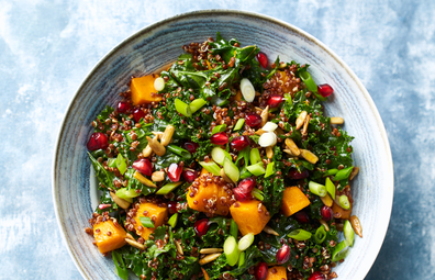 Kale, pumpkin, pomegranate salad    Healthy