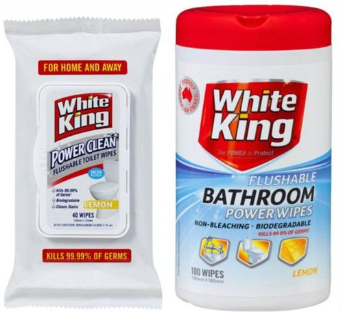 The ACCC has fined White King makers Pental over misleading claims made about their bathroom and toilet wipes. (ACCC/Supplied)