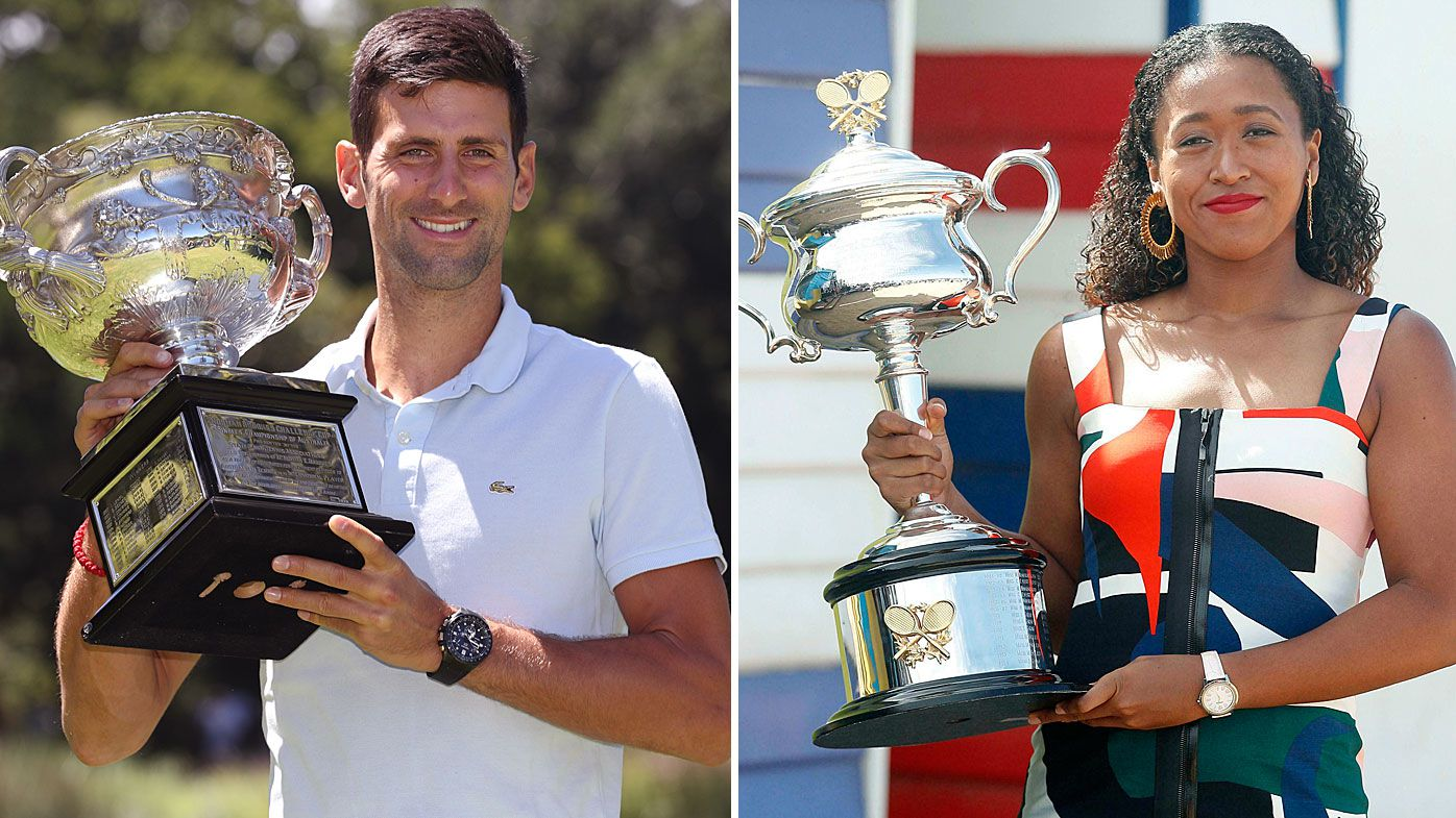 Djokovic and Osaka celebrate their victories