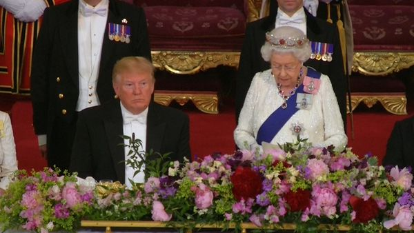 Queen welcomes Trump in speech