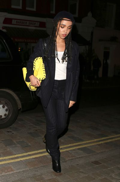 FKA Twigs brings her signature street-smarts to an otherwise classic pinstripe suit.
