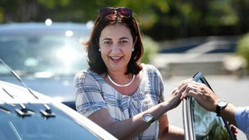 Queensland Labor leader Annastacia Palaszczuk leaves after meeting supporters in the suburb of Burpengary in Brisbane's north yesterday. (AAP)