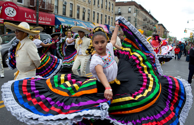Brooklyn's Mexican community marches down 5th Avenue in the Sunset Park neighborhood during a Cinco de Mayo parade on May 7, 2017 in Brooklyn, New York.