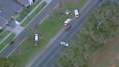 Emergency services remain at the scene following the fatal crash. Picture: 9NEWS