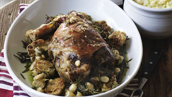 Slow-roasted leg of lamb with garlic and root vegetable mash