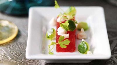 Watermelon with smoked salmon mousse