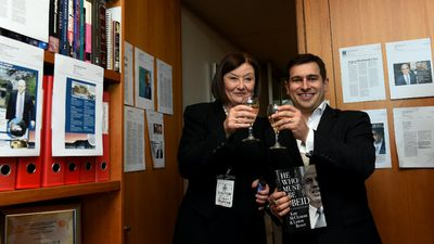 He Who Must Be Obeid authors Kate McClymont and Linton Besser at the launch of their book today.