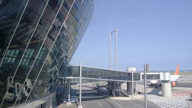 The plane landed at Nice Cote d'Azur Airport in Provence, France.