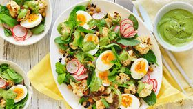 Roast cauliflower and egg salad with avocado dressing