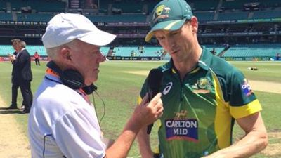 ABC will scale back its involvement in sports broadcasting. Australia's captain George Bailey with the ABC's Jim Maxwell at the SCG this week. (Supplied)