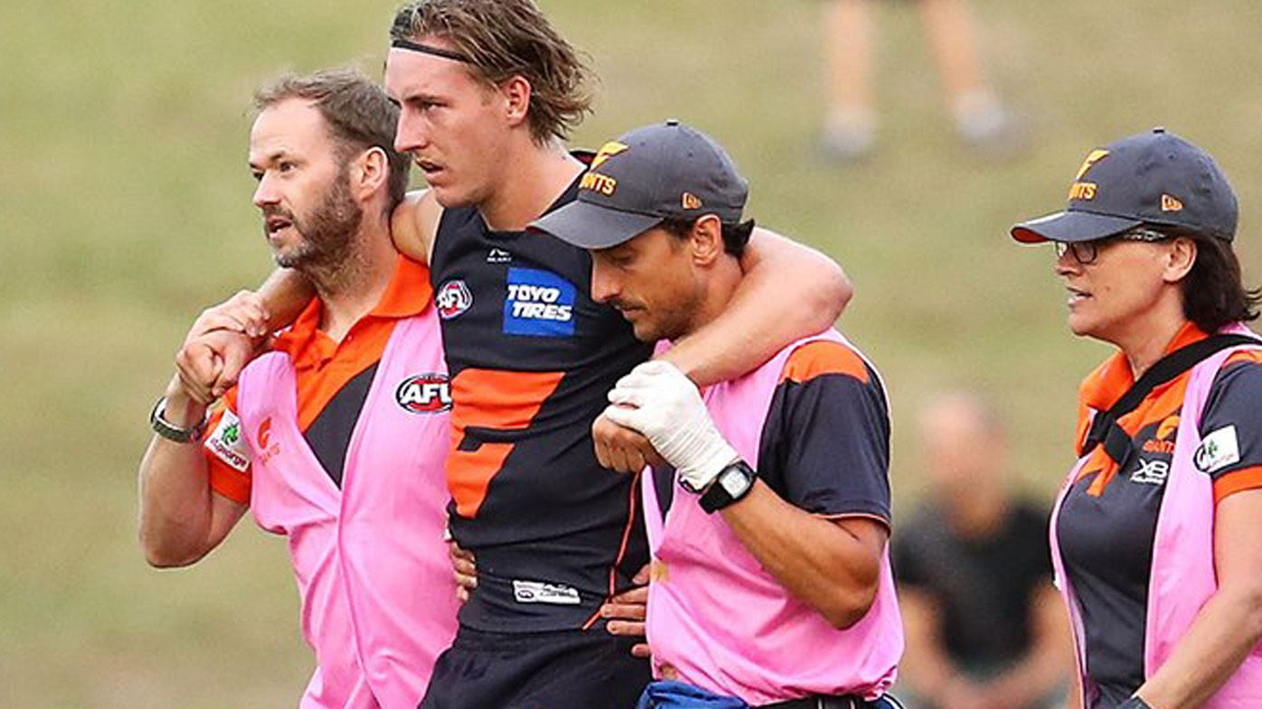 AFL news: GWS Giants midfielder Will Setterfield suffers knee injury in pre-season game against Sydney Swans