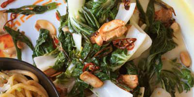 Pak choi with lime dressing
