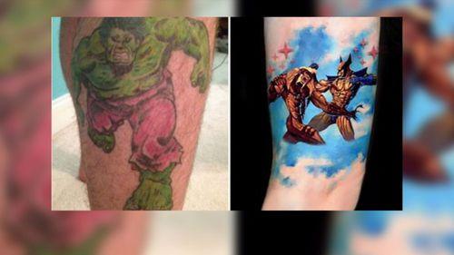 Jonathan Dick's distinctive tattoos.