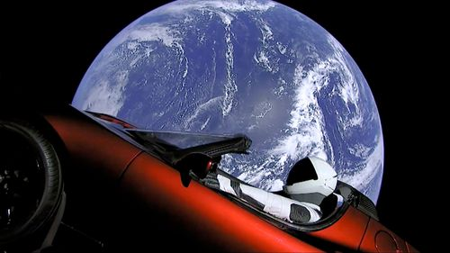 The Tesla Roadster which will travel to Mars.