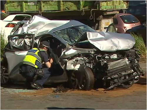 The driver in his 20s is in a serious condition with head and chest injuries.