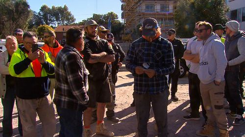 Dozens of tradies turned out in protest at the Leederville location, demanding thousands of dollars for unpaid work.