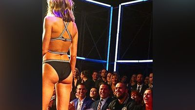 TODAY co-host Karl Stefanovic posted this photo onto Instagram, of himself sitting alongside a proud Buddy Franklin as Jesinta Campbell hit the catwalk. (Instagram)