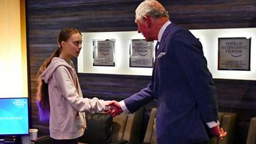 Prince Charles meets climate activist Greta Thunberg at the World Economic Forum in Davos, Switzerland January 22, 2020
