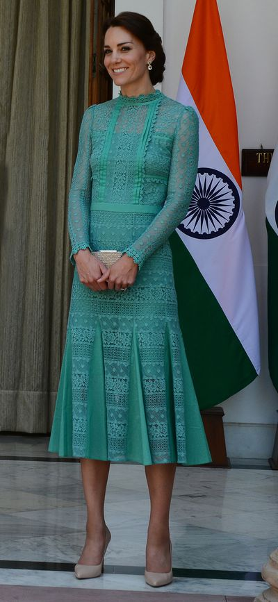 Duchess Kate is a long-time fan of Temperley London and she's particularly fond of this lace midi style dress. She wore a sparkling emerald version when she met with the Indian Prime Minister Narendra Modi in New Delhi in April.