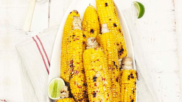 Barbecued sweetcorn with chilli, lime & herb butter
