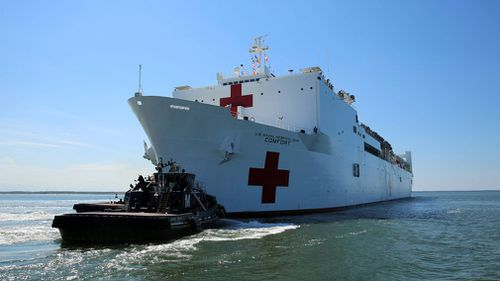 The Military Sealift Command hospital ship USNS Comfort (T-AH 20) departs Naval Station Norfolk to support hurricane relief efforts in Puerto Rico. (AP)