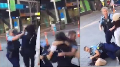 A female senior constable and her offsider approached a group of teens when a girl allegedly kicked and punched her without provocation.