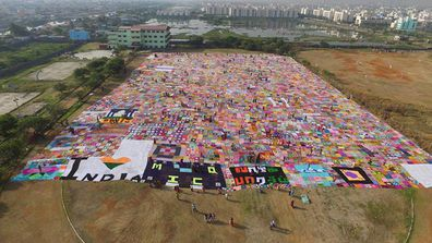 More than 2000 women have teamed up in India to create the world's biggest ever crochet blanket.