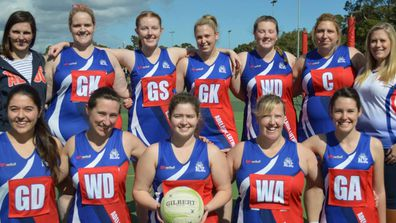 Gemma, back row second left, was an active and fit teacher before her shock bowel cancer diagnosis.
