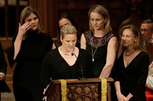 Jenna Bush wipes away tears as Mrs Bush's granddaughters give their eulogy. (AAP)