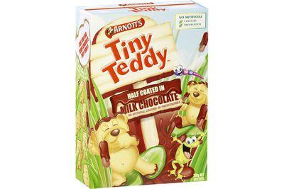 Tiny Teddy milk chocolate biscuits: 11 calories/45kj per biscuit
