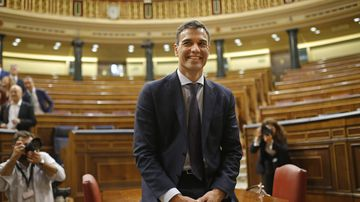 Spain's socialist opposition leader Pedro Sanchez sits at the start of the second day of a motion of no confidence session at the Spanish parliament in Madrid, Friday, June 1, 2018.Spain's conservative government appears doomed to lose a no-confidence vote in parliament, with the center-left Socialist party poised to take power. (AP Photo/Francisco Seco)