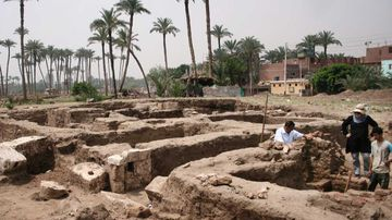 The excavation site in Mit Rahina, Egypt.