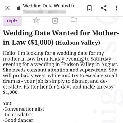 Woman places ad for wedding date to accompany 'needy' mother-in-law