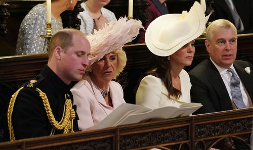 Prince William and Camilla sit beside the stars of Suits during the ceremony. (AAP)