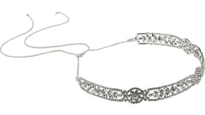 "<p><a href=""http://www.net-a-porter.com/product/590736/Jennifer_Behr/adeline-silver-tone-swarovski-crystal-headband"" target=""_blank"">Adeline silver-tone Swarovski crystal headband,$813.31, Jennifer Behr</a></p>"