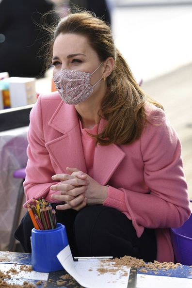 Kate Middleton, Duchess of Cambridge, with Prince William, visits School21, a school in east London, Thursday March 11, 2021.