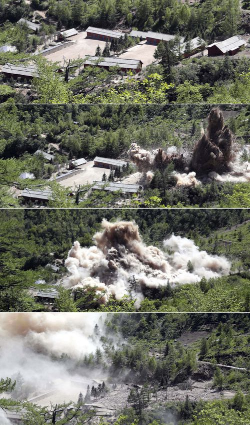 The nuclear test site was demolished by North Korea overnight. Picture: AP