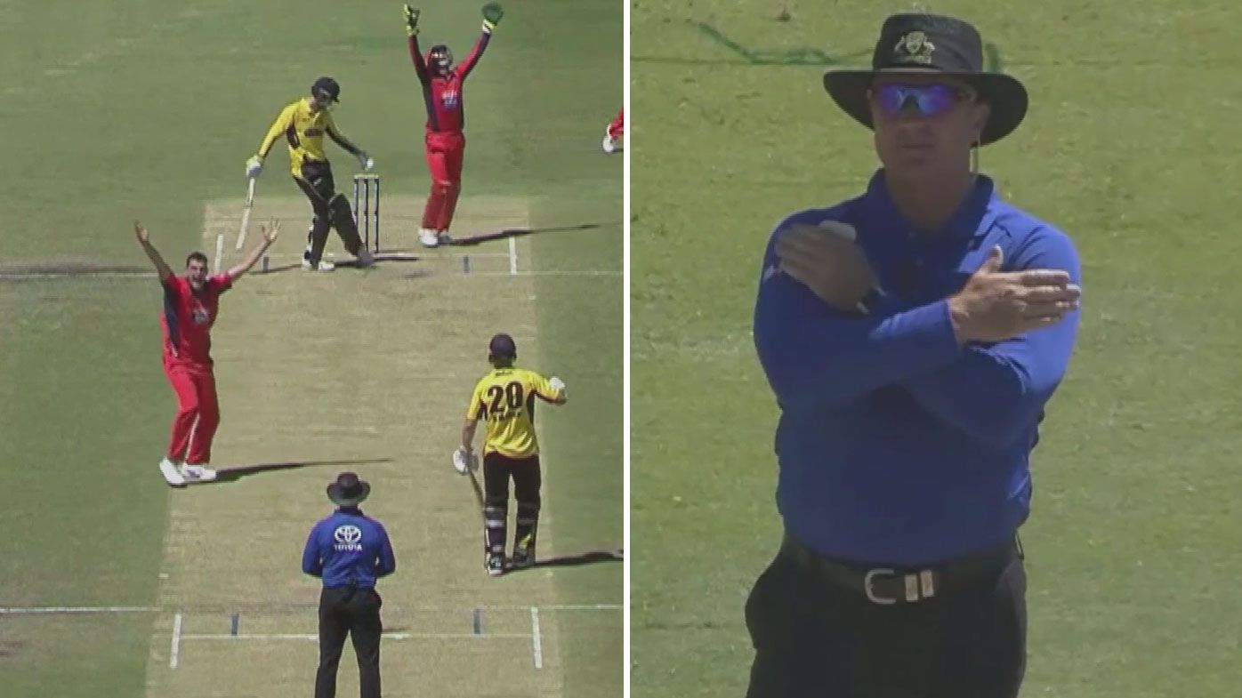'He knows he's got it wrong': Umpire reverses his own decision in bizarre scene