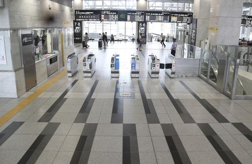 Few passengers can be seen due to the approaching of typhoon Jebi at Osaka Station.
