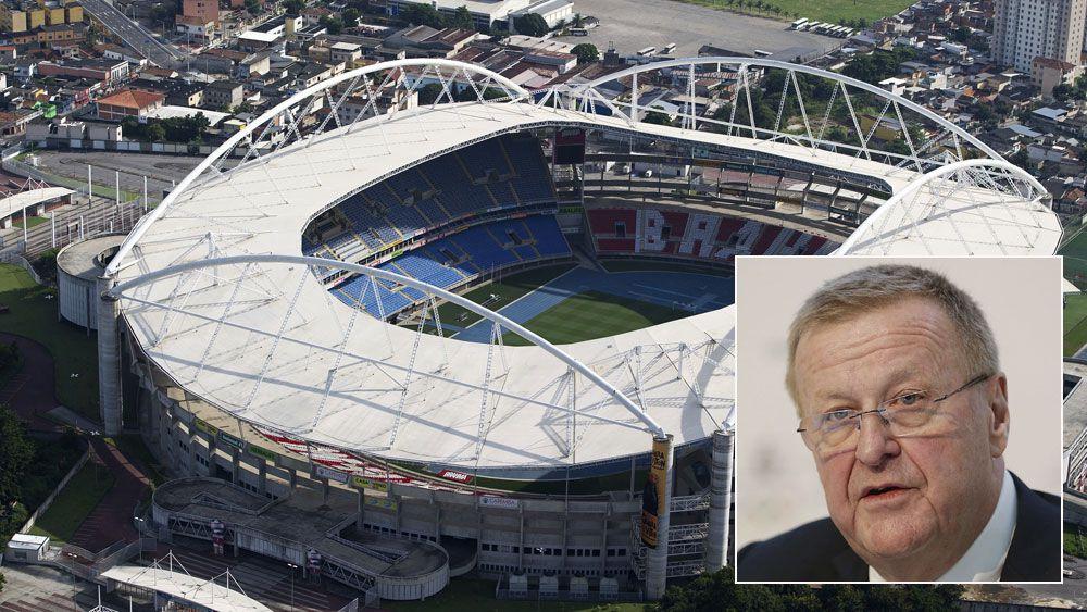 Rio Olympics stadium and (inset) John Coates. (Getty)