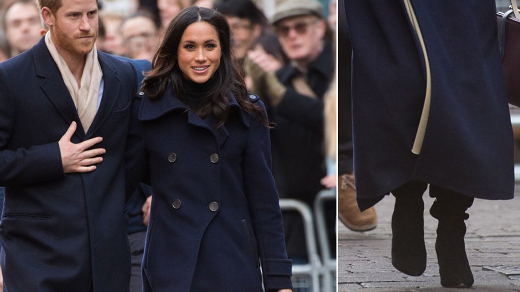 Prince Harry, Meghan Markle and the Kurt Geiger Violet boots. Image: Getty