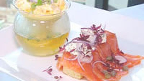 Salt and sugar cured salmon with double cream scrambled eggs