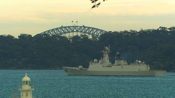 Chinese warships arriving in Sydney Harbour this morning.