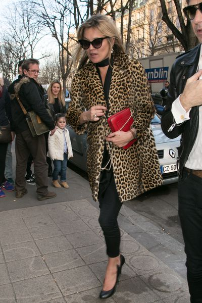 Paying a visit to Saint Laurent in her signature leopard print.
