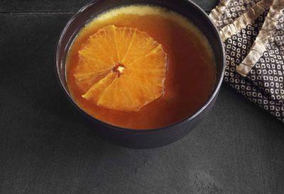Rosewater flan with burnt orange caramel