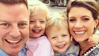 Ben Fordham with his wife Jodie and children Pearl and Freddie.