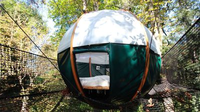 "<p>Sleep in a&#160;<a href=""https://www.airbnb.com.au/rooms/1322426?role=public&amp;sug=50&amp;wl_id=75&amp;wl_source=list"">cocoon tent</a>&#160;high in the trees just one hour from Paris. The round bed is 2.4m in diameter that sleeps two - or more if your kids are little!</p> <p>$161 AUD&#160;per night</p> <p>Photo: Airbnb</p>"