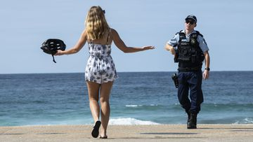 Police at Maroubra beach, After opening the Beach for a couple of hours it was once again closed. Coronavirus COVID-19 pandemic.