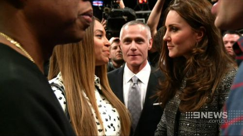 The Duke and Duchess of Cambridge meet with Beyonce and Jay-Z at a basketball game in New York. (9NEWS)